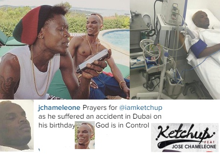 Chameleone with Ketchup in Kampala and inset is Ketchup in a Dubai hospital