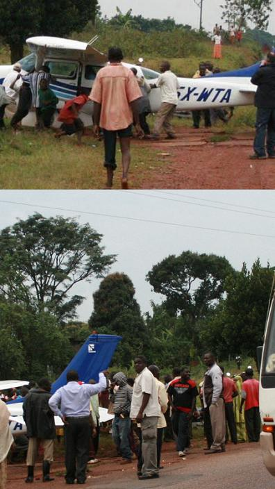 Locals at the scene of the plane that crash landed along Masaka Road