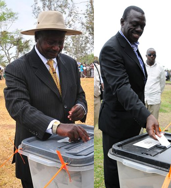 President Museveni and Dr. Kizza Besigye during the Feb 18 poll casting their votes