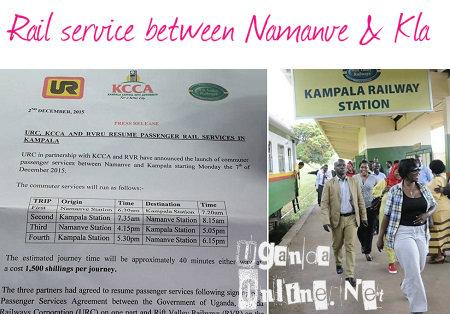 Rail service between Namanve and Kampala