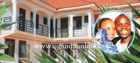 Ronald Mayinja's hotel. Inset is Mayinja and his wife Aisha Nakyeyune