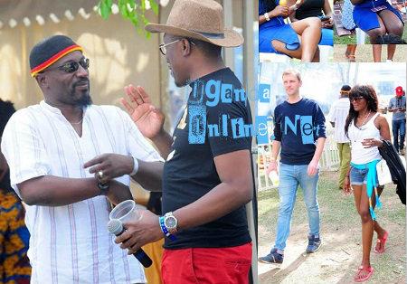 MC Roger Mugisha having a chat with Gaetano Kaggwa