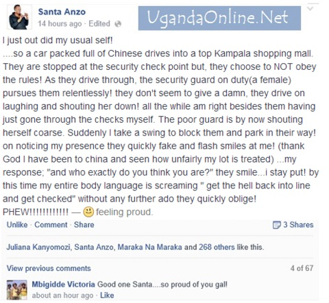 Santa Anzo's post on Chinese who resisted being checked