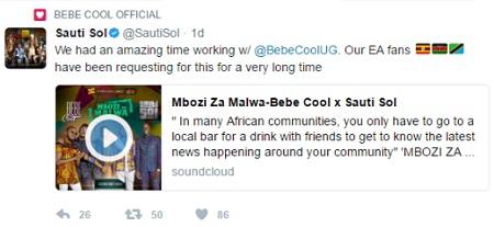 Sauti Sol tweet on Mbozi Za Malwa song