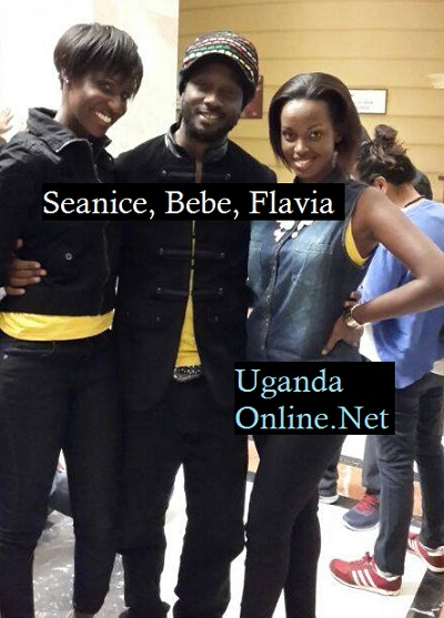 Bebe Cool sandwiched by Seanice and Flavia
