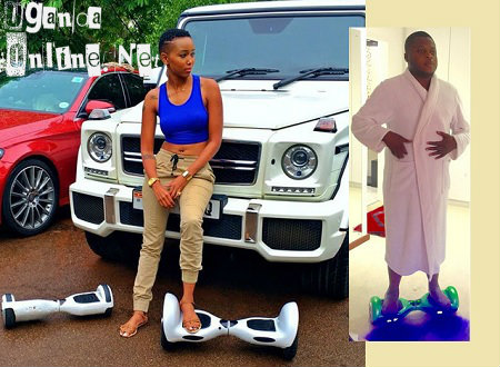 Huddah Monroe and Ivan Semwanga embracing the segway swagg