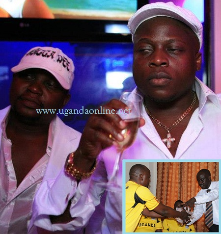Ivan Ssemwanga and Ragga Dee at the last Zari White party (Inset) His manager handing over Ivan's donation to Uganda Cranes