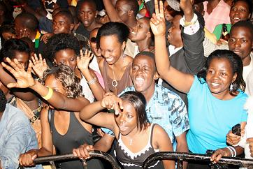 Fans at the Shaggy Show in Kampala