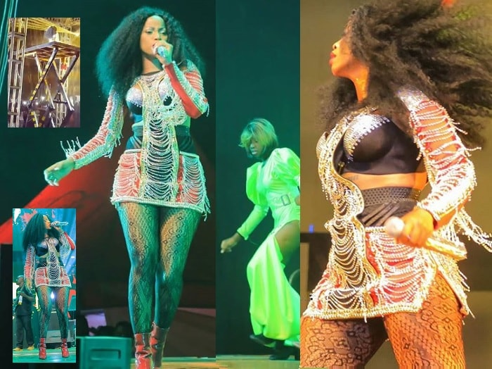 This was the first outfit Sheebah rocked at the Omwooyo concert