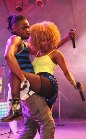 Pallaso performing with Sheebah Karungi