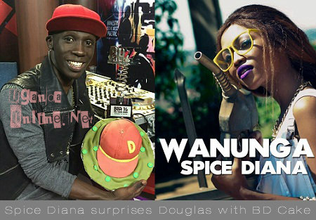 Douglas Lwanga showing off his birthday cake from Spice Diana