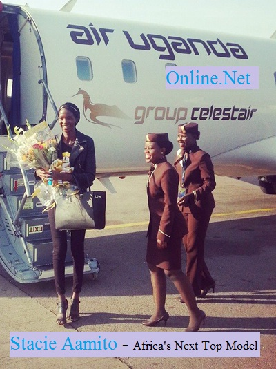 Stacie Aamito at Entebbe Aiport on arrival from New York