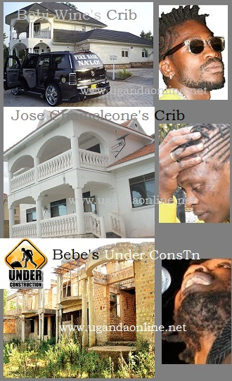 Bobi Wine's house in Magere, Jose Chameleone's house in Sseguku and Bebe's in Kiwatule that is yet to be completed