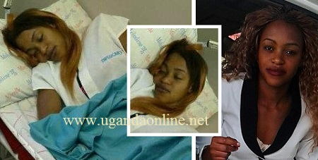Stella Nankya in hospital with a smiley face