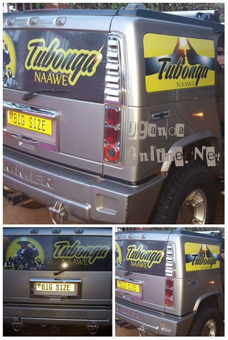 Bebe Cool's Hummer customised with Tubonga Naawe stickers