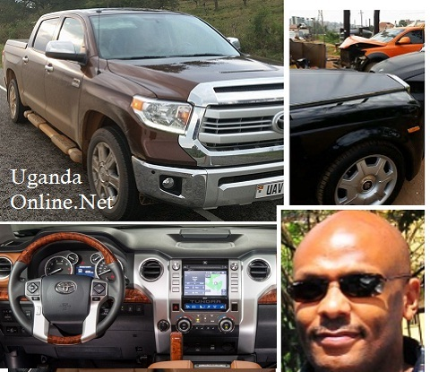 Desh Kananura in a 2014 Tundra model. Inset is his black Rolls Royce and the orange