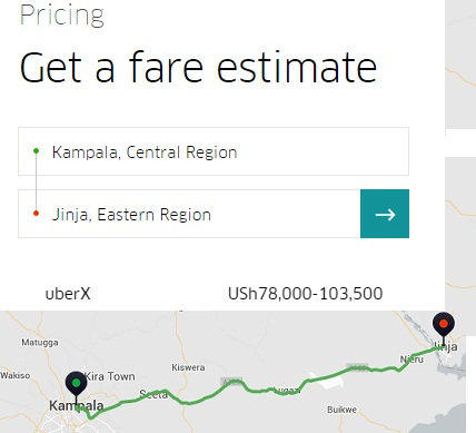 Uber estimated charges from Kampala to Jinja