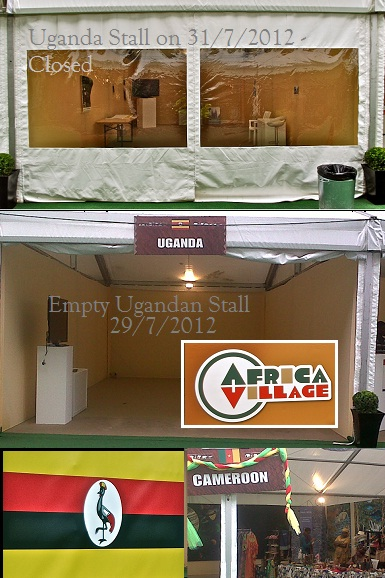 The empty Ugandan stall was eventually closed at the Olympics African Village