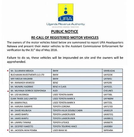 URA re-calls registered motor vehicles