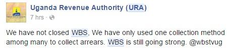 A tweet from URA regarding WBS receivership