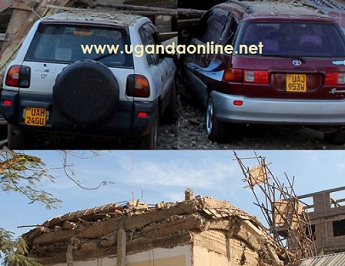 Some of the cars that were trapped in the debris