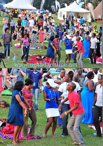 Revellers at the Uganda Musuem during the Wine and Blanket festival