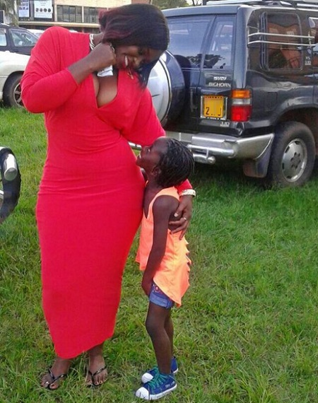 Winnie Nwagi with daughter, Destiny