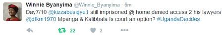 A tweet from Dr. Kizza Besigye's spouse, Winnie Byanyima