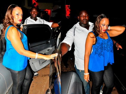Zari and her bouncer at Club Rouge last Saturday during the Swagger night