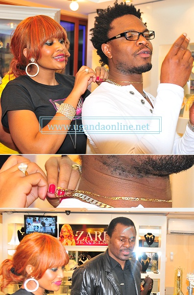 Zari helps a customer who bought a chain and below is Ange-Noir's Charlie Lubega at the launch of Zari Jewels