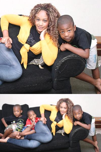 Zari at home with the boys