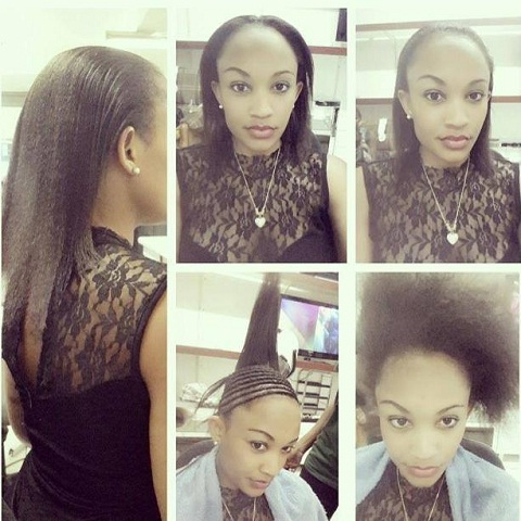 Zari showing off her real hair
