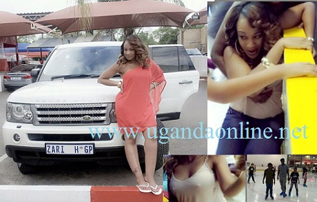 Zari on Valentine's day and inset is Zari after the accident as her kids enjoy the sport