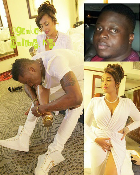 Diamond helping Zari with her heel and inset is Ivan Semwanga