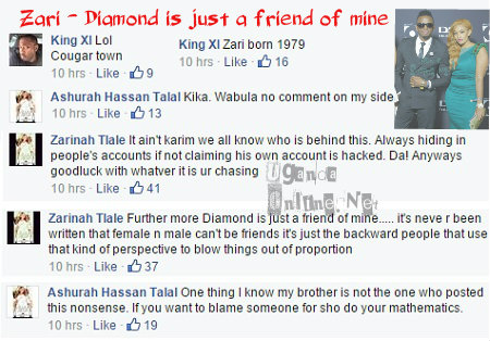 Responses on Zari dating Tanzania's Diamond Platnumz